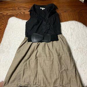 Black Ruffle Button Up Olive Shirt Dress with belt